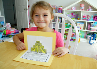 Tessa's completed pop-up ziggurat book! How cool is that?!