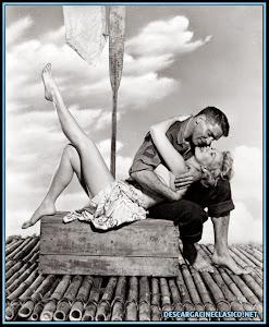 Fotografía de Burt Lancaster y Virginia Mayo en el rodaje de la película