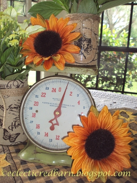 Eclectic Red Barn: Vintage scale and sunflowers