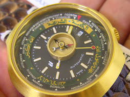 DALIL WORLD TIME COMPASS WATCH BLACK DIAL - AUTOMATIC AS 2063 - NEW OLD STOCK (NOS)