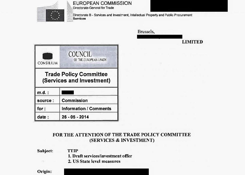 propuesta de acuerdo de servicios e inversiones de la UE del Acuerdo Transatlántico TTIP