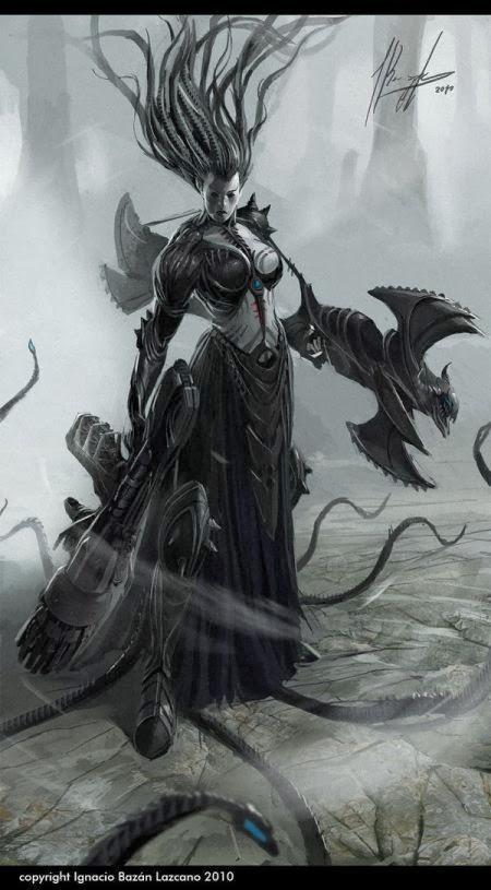 Ignacio Bazán Lazcano neisbeis deviantart illustrations card games fantasy Bruxa gótica