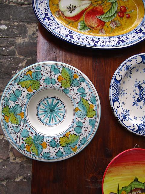Ceramic Italian plates in Siena, Italy.