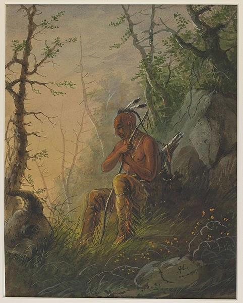 """Alfred Jacob Miller """"Sioux Indian at a Grave"""", Okres ochronny na czarownice,  Carmaniola"""
