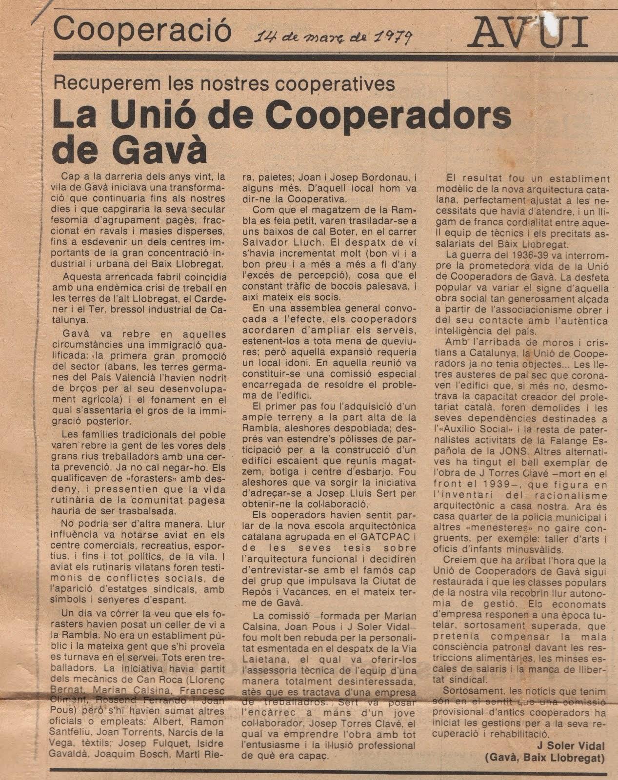 Article inici de la campanya per la recuperació de la Unió de Cooperadors