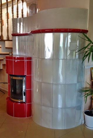 modern cserépkályha íves kályhaajtóval