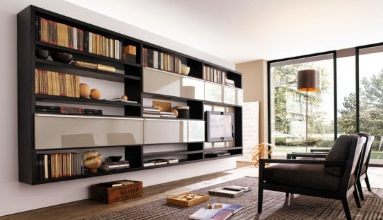 Living Room Wall Unit Design For Home Library