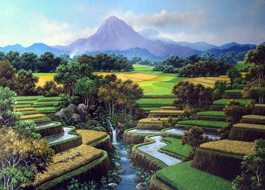 Lukisan Pemandangan Gunung