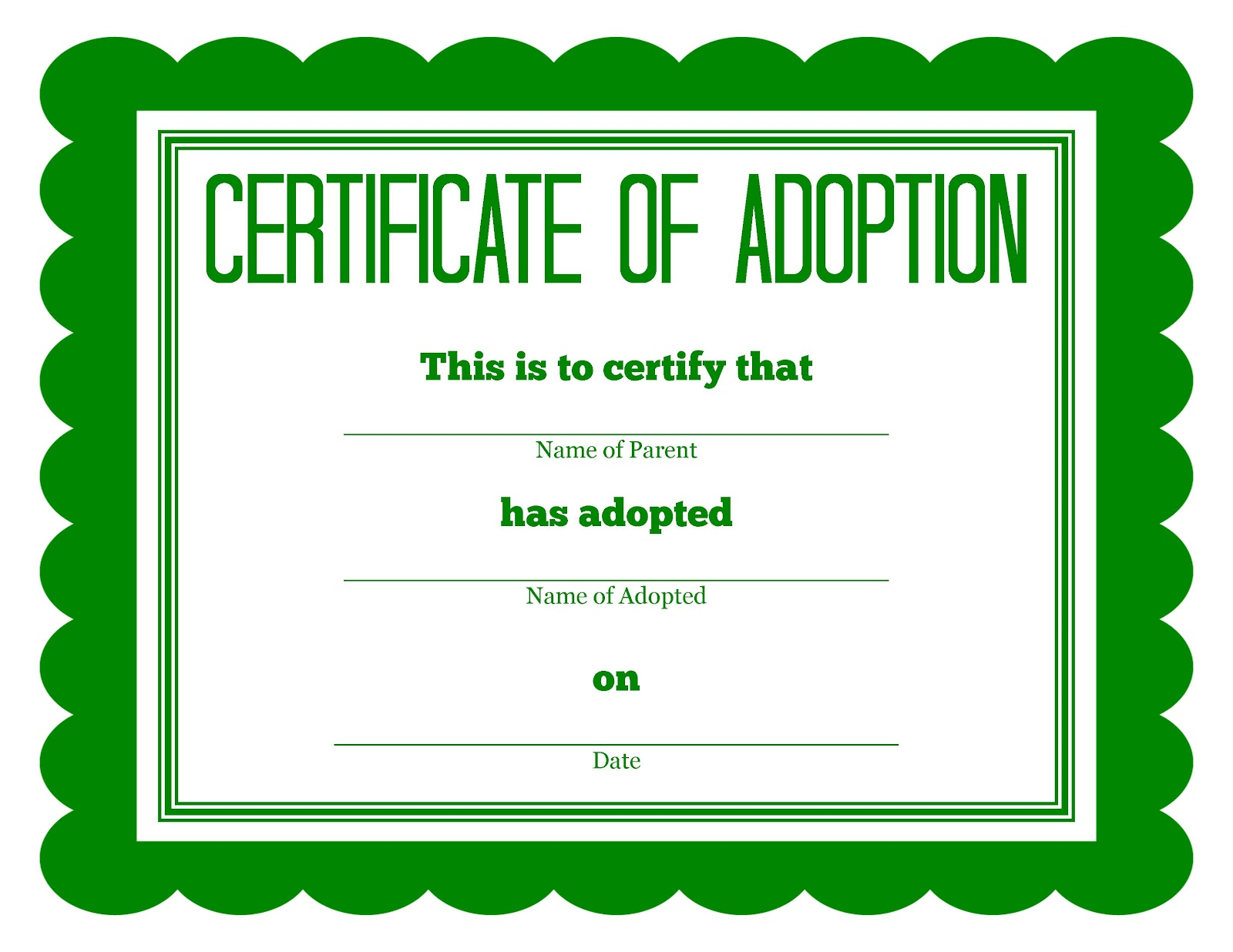 More stuffed animal adoption certificates for Adoption certificate template