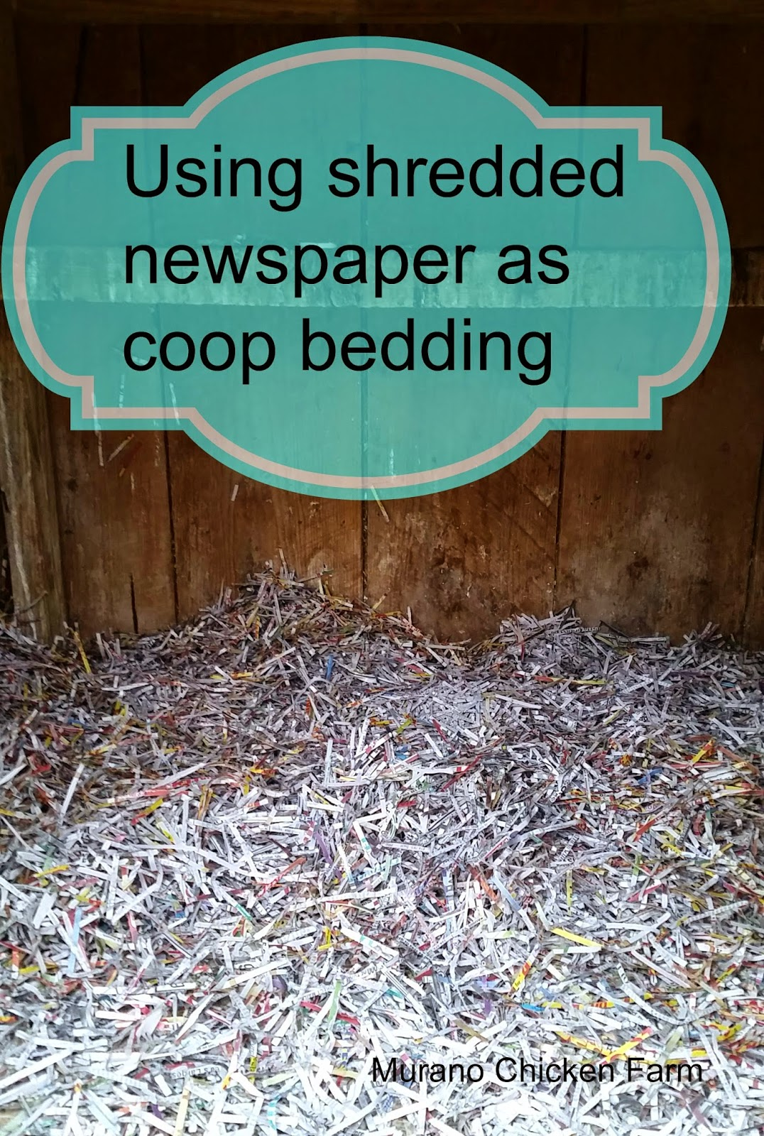 chicken coop bedding, shredded paper