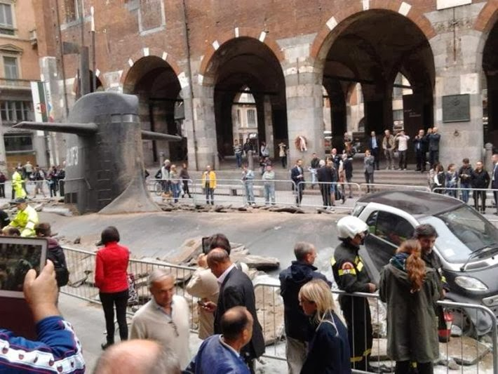 The ad agency M&C SAATCHI created the distinct impression that a submarine had accidentally surfaced through a street in Milan, Italy. The sudden and destructive appearance of L1F3 was a promotion for Europ Assistance IT, an insurance company. The lesson appears to be that you need extra insurance just in case this happens on your street.