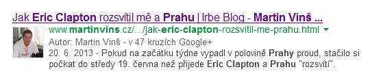 Ukázka Google authorship na blogu martinvins.cz ve výsledku vyhledávání Google