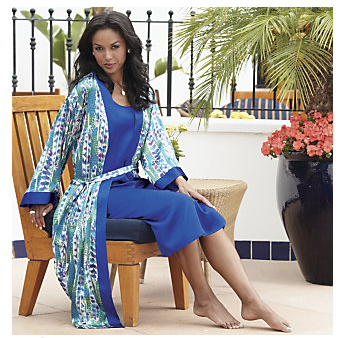 Feather Print Robe & Gown Set