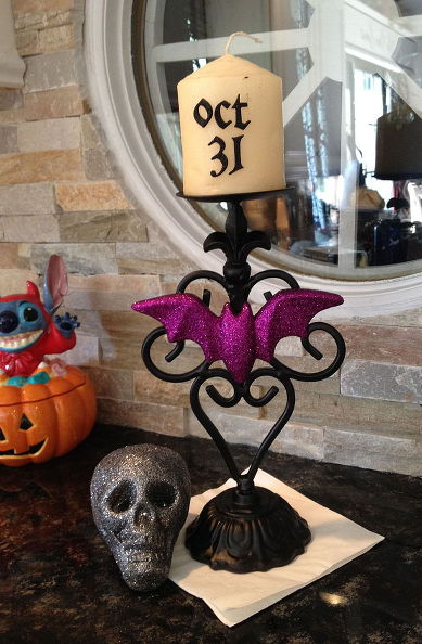 here is the result i really like the way it turned out i also found the candle for 99 too at goodwill - Glitter Halloween Decorations