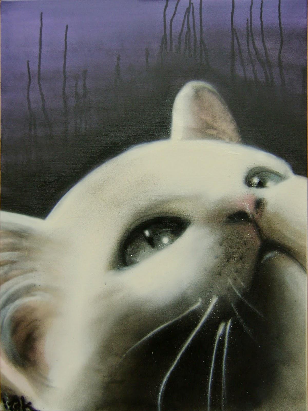 izak izakone graffiti artist art streetart canvas 2008 cat