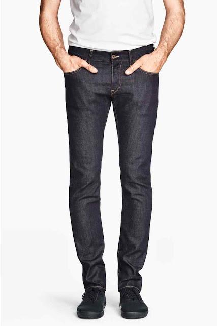 h&m jeans slim bleu brut