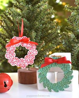 Mini embroidery hoop wreath ornaments.  So cute!