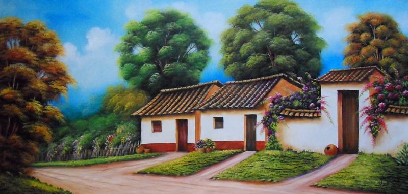 Pinturas de paisajes con casas imagui - Paisajes de casas ...