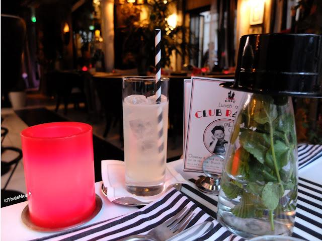 déco rayée paille verre serviette chat Club rayé bar jazz Paris, rue saint-sauveur nouveau quartier bars restos cool Paris