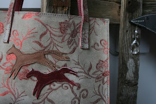 handmade leather handbag with horses