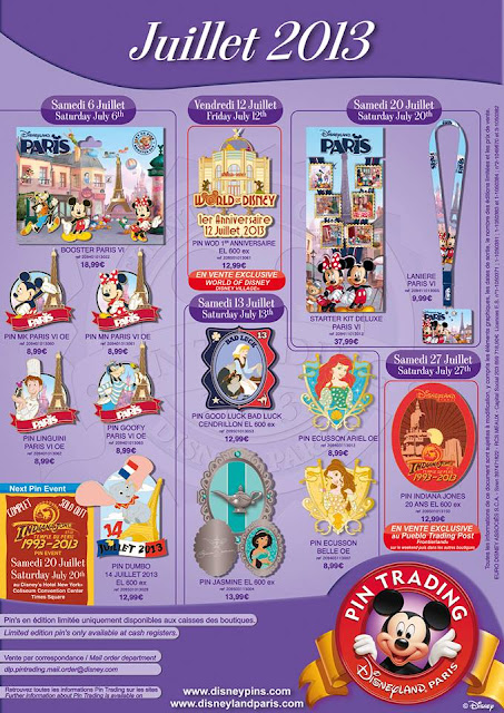 Disneyland Paris July 2013 pin releases