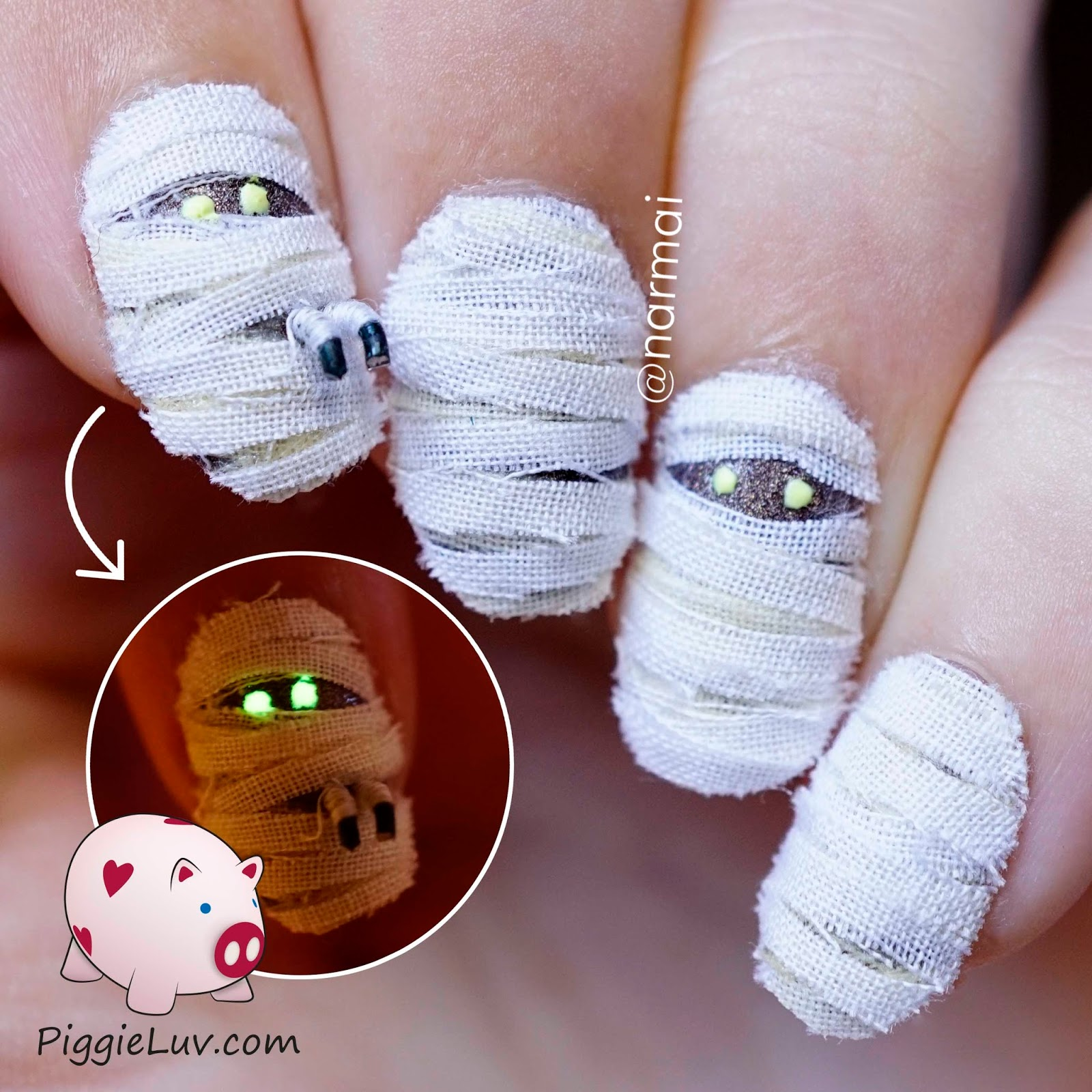 PiggieLuv: 3D mummy nail art for Halloween