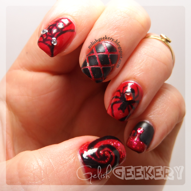 Gelish Black & Red Halloween Spider Mani. Gelish Colors: Black Shadow, Backstage Beauty, Life of the Party, and Matte Top It Off
