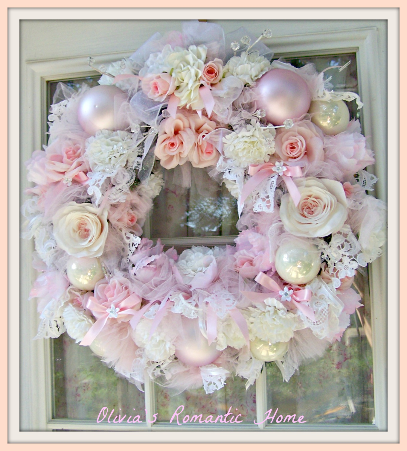 Olivia 39 s romantic home romantic rose wreath for Table de noel shabby chic