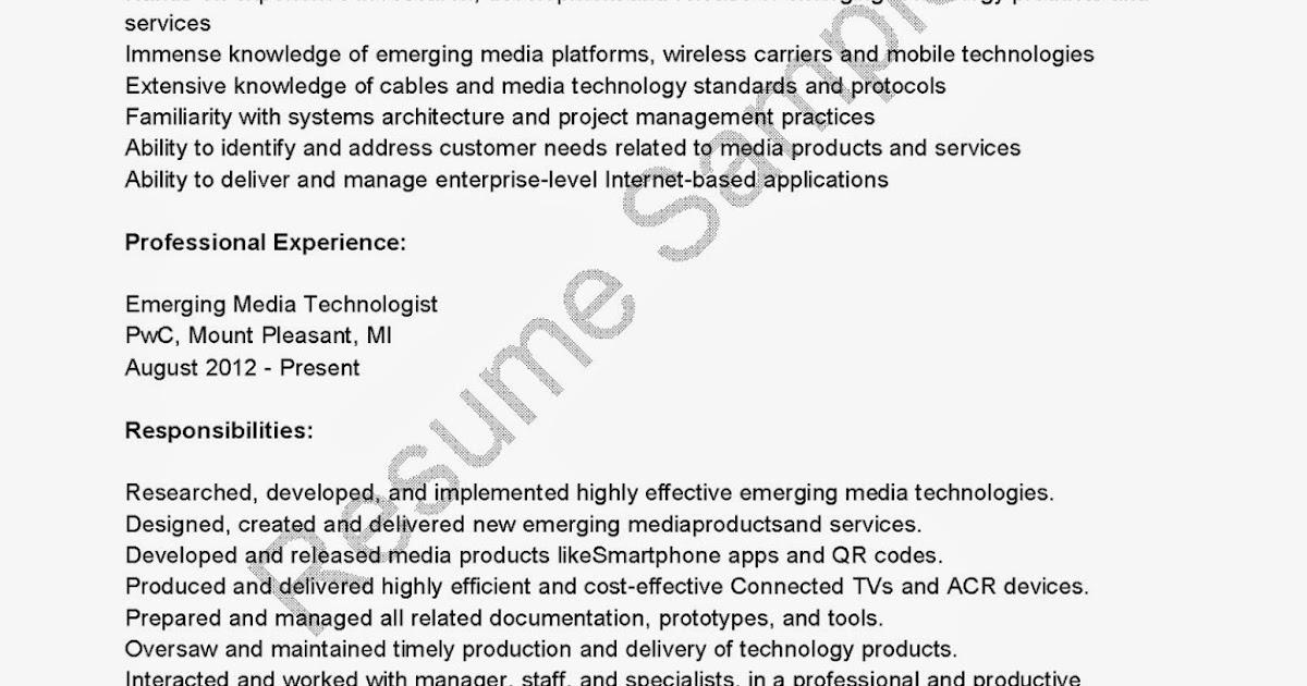 resume samples  emerging media technologist resume sample