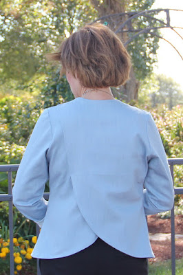Winter Wear Designs Champs Elysee Cross Back Blazer made using Girl Charlee stretch denim.