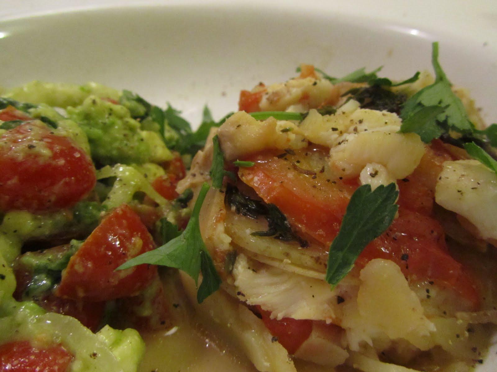 Cod and Potato stew with Avocado and mozzarella Salad