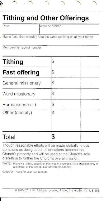 Cosmetic changes to church donation slips - LDS Freedom Forum