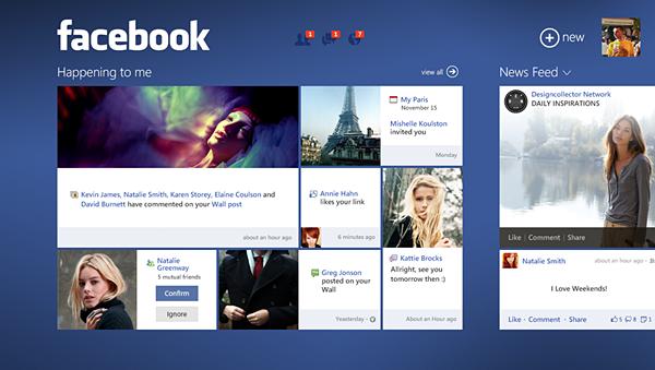 Facebook Redesign For Windows 8 Concept
