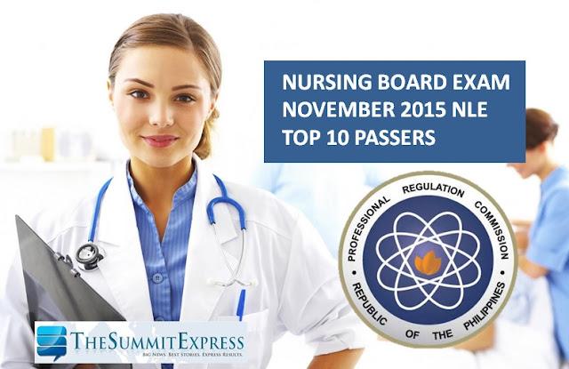 Top 10 Passers November 2015 NLE Nursing board exam