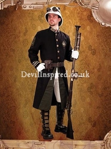 Black Steampunk Guard Coat for Men