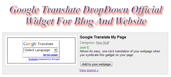 Google Translate DropDown Widget For Blog And Website