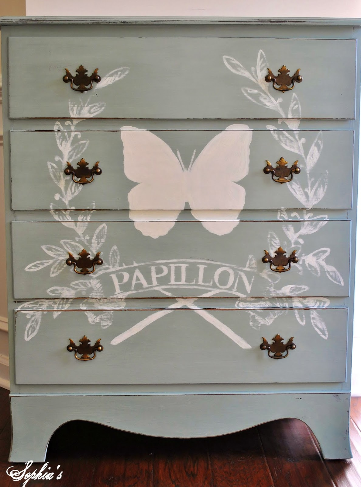 Duck Egg Butterfly Dresser