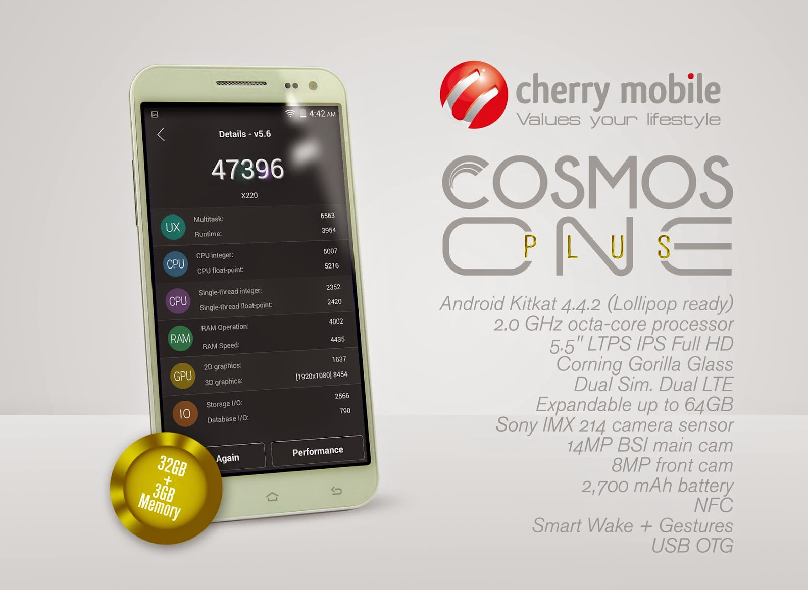 Cherry Mobile Cosmos One Plus Revealed, Sports MT6595M Chipset, 3GB RAM for P13,990