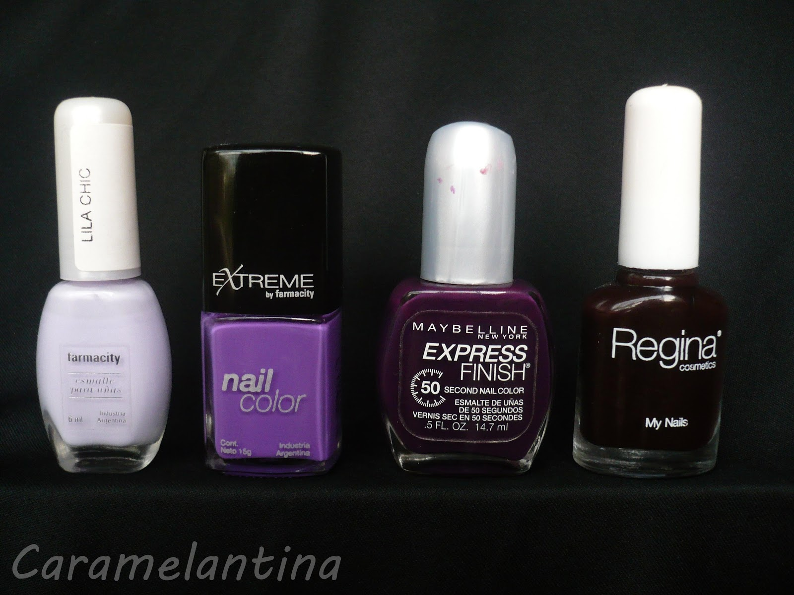Farmacity Lila Chic, Extreme by Farmacity Giovanna, Maybelline Express Finish Grape Times 608, Regina Queen Elizabeth