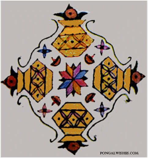 pongal kollam with designs pots