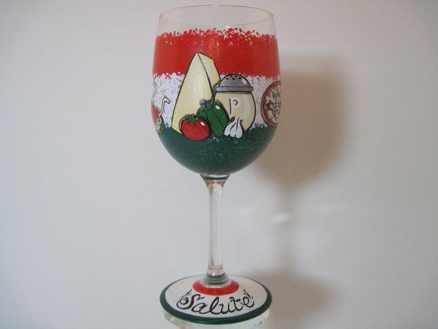 Custom Italian Food Themed Painted Wine Glass