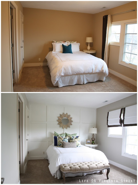 Guest Bedroom Before and After with Board and Batten Grid Wall
