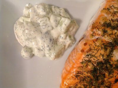 Cucumber Dill Sauce - Serve with baked Salmon!