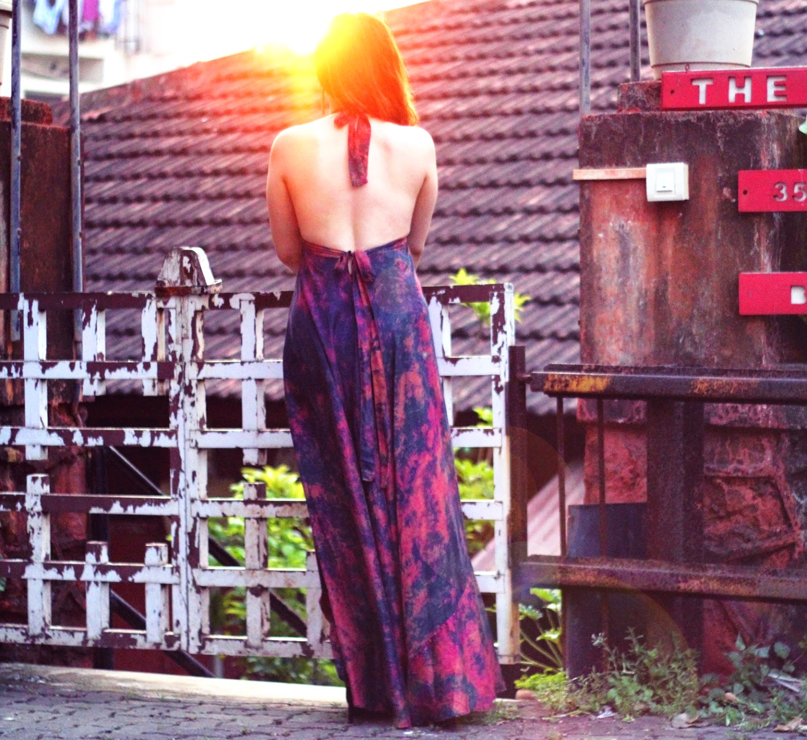 Batik Silk Backless Maxi Dress