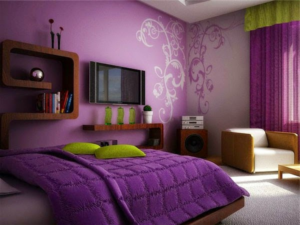 gallery for purple wall color bedroom