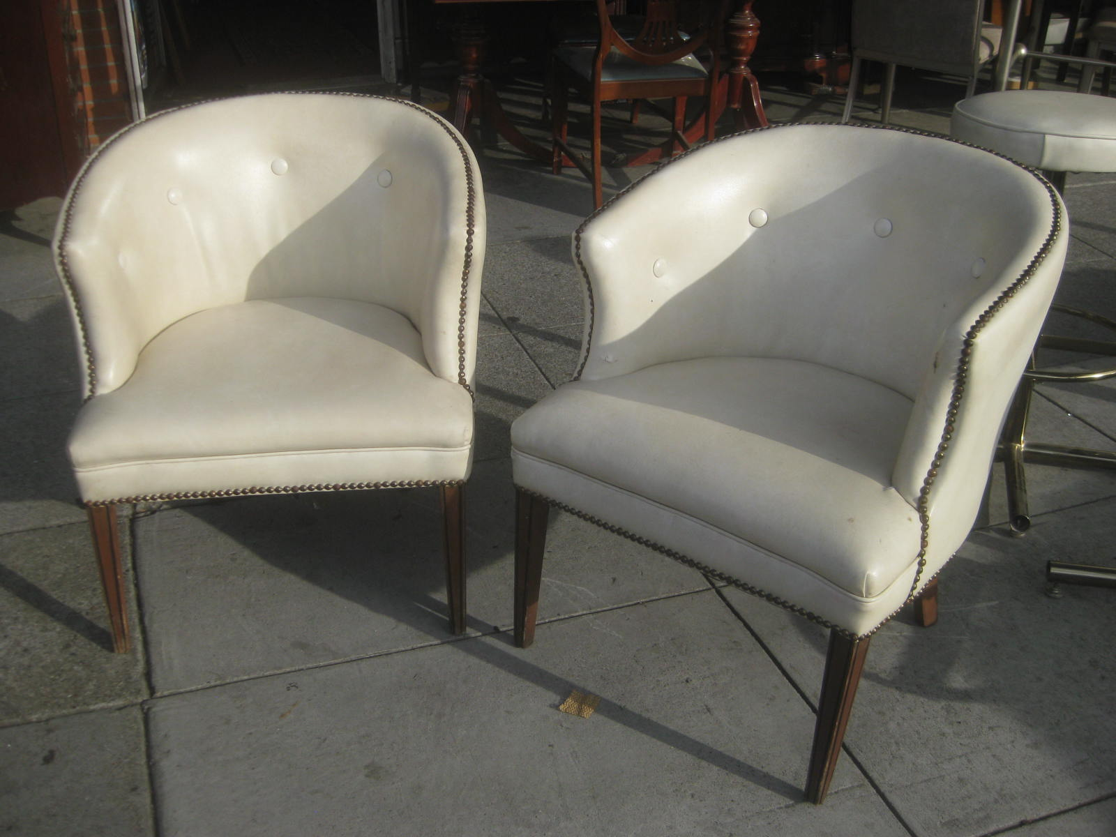 UHURU FURNITURE & COLLECTIBLES: SOLD - White Leather Bucket Chairs ...