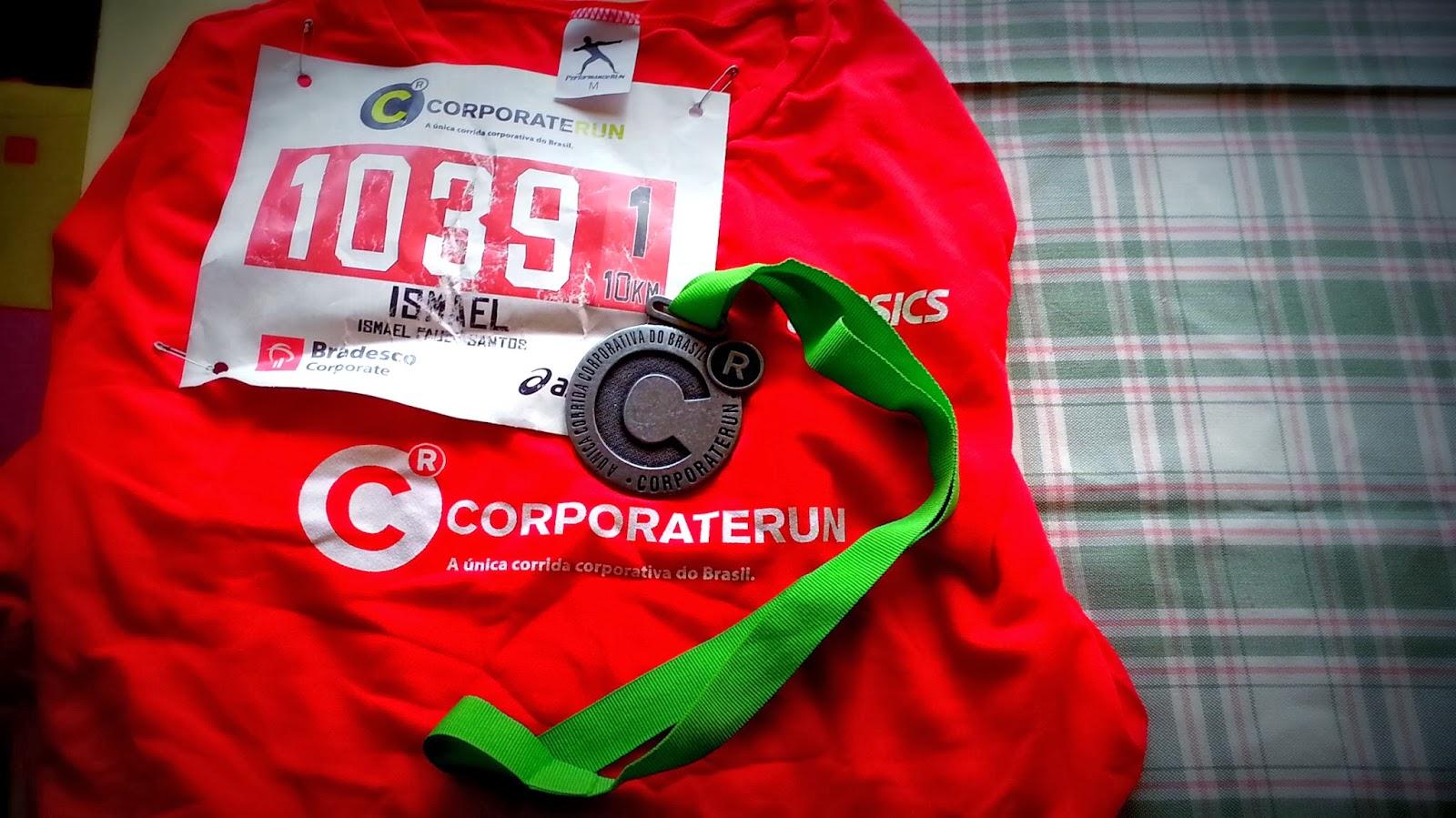 Corporate Run 10k 2013 - Camiseta, número de peito e medalha da prova