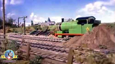 Thomas and friends Percy the train puffed wearily empty siding track ending in a big bank of earth