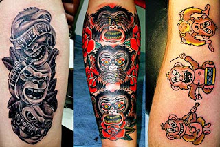 Fotos de tatuagens de animais - macacos sábios
