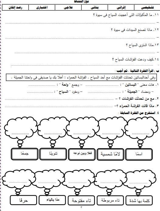 شيتات المجموعة المدرسية لمادة اللغة العربية للصف الثالث الابتدائى على هيئة صور للمشاهدة والتحميل The%2Bfirst%2Bunit%2B3%2Bprime_003